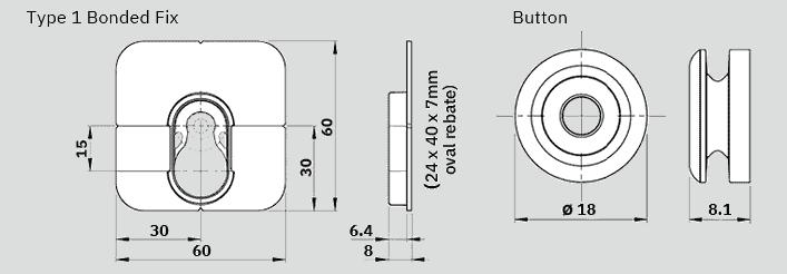 Button Fix Type 1 Bonded Dimensions
