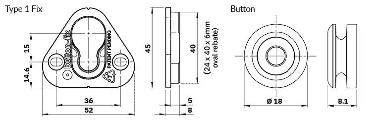 Button Fix Type 1 Dimensions